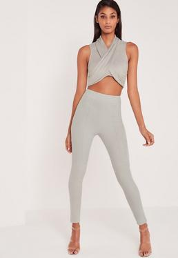 Carli Bybel Faux Suede Panel Leggings Grey