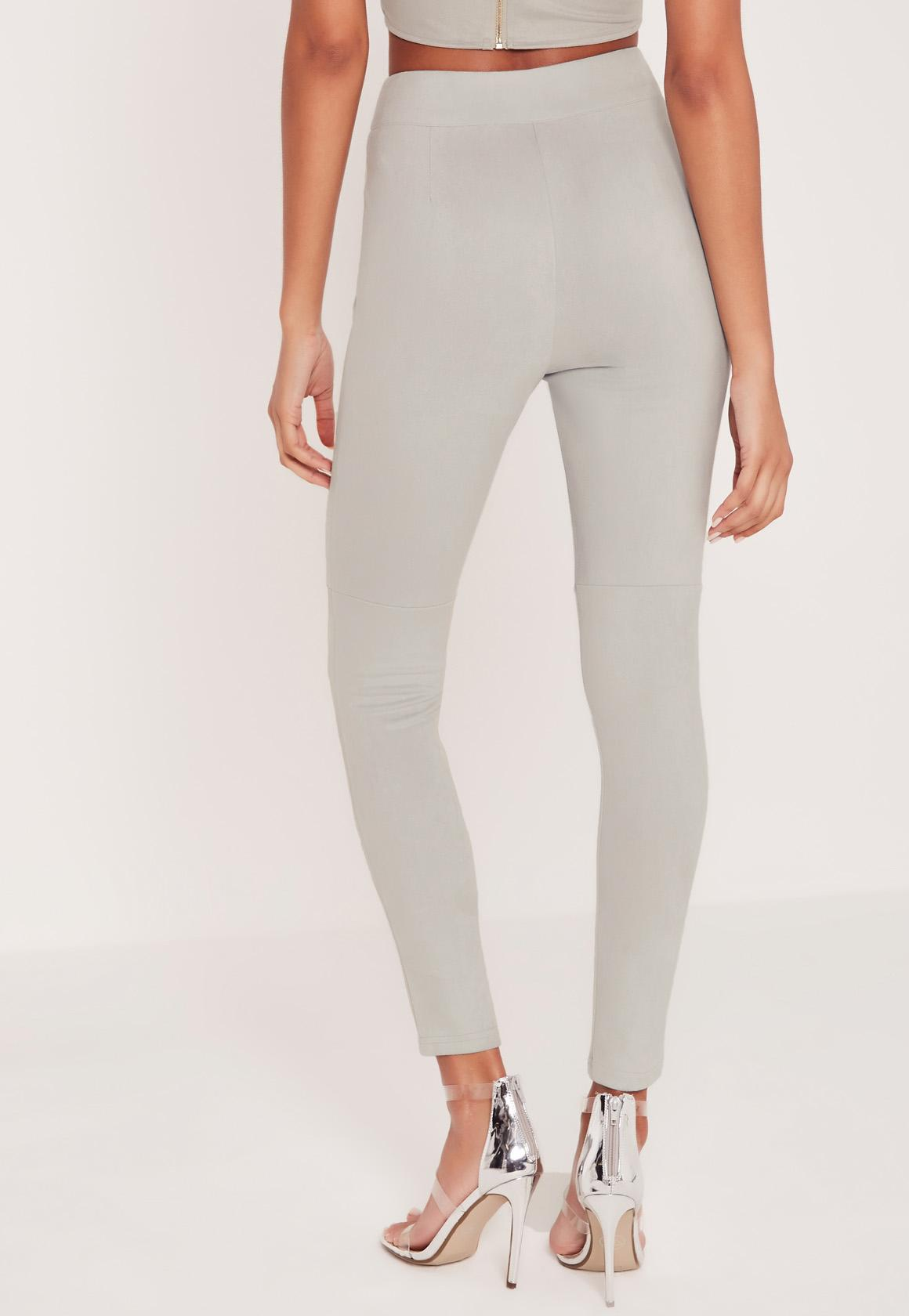 f8f67d3530504b Missguided Carli Bybel Faux Suede Panel Leggings Grey at £9 | love ...