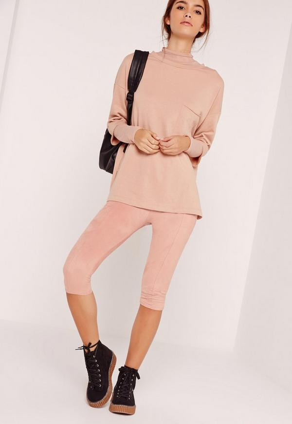 Faux Suede Cropped Leggings Pink