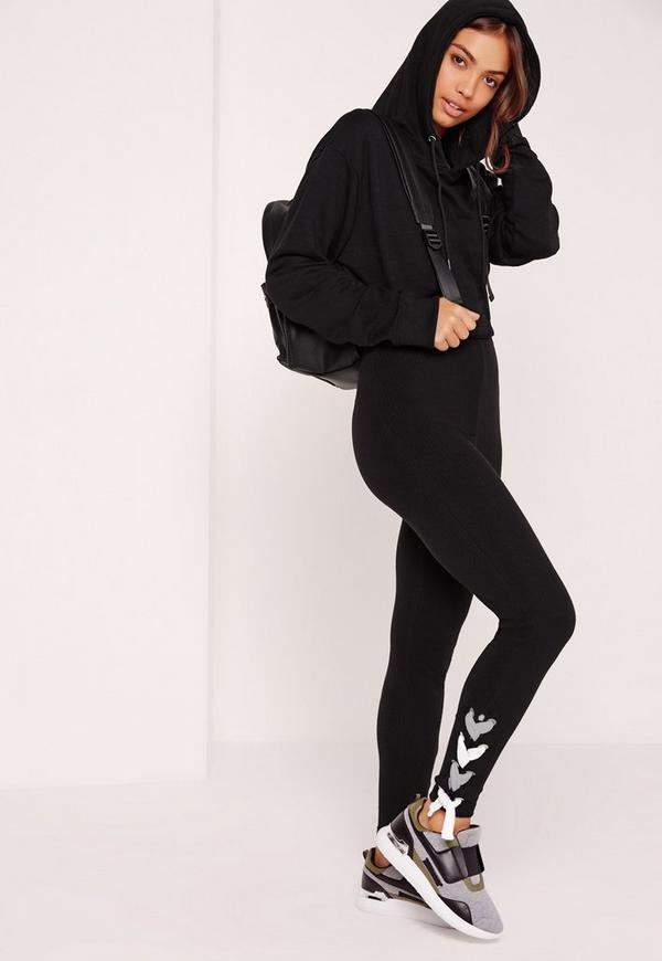 Lace Up Hem Chunky Rib Leggings Black