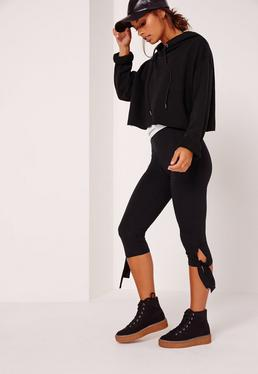 Cropped Tie Knee Leggings Black