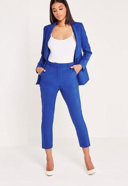 Pantalon cigarette bleu électrique