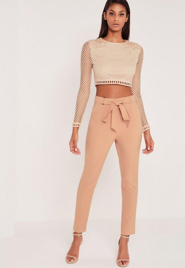 Carli Bybel Tie Front Cigarette Trousers Pink