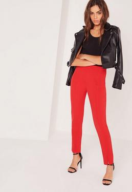 Skinny Fit Cigarette Trousers Red