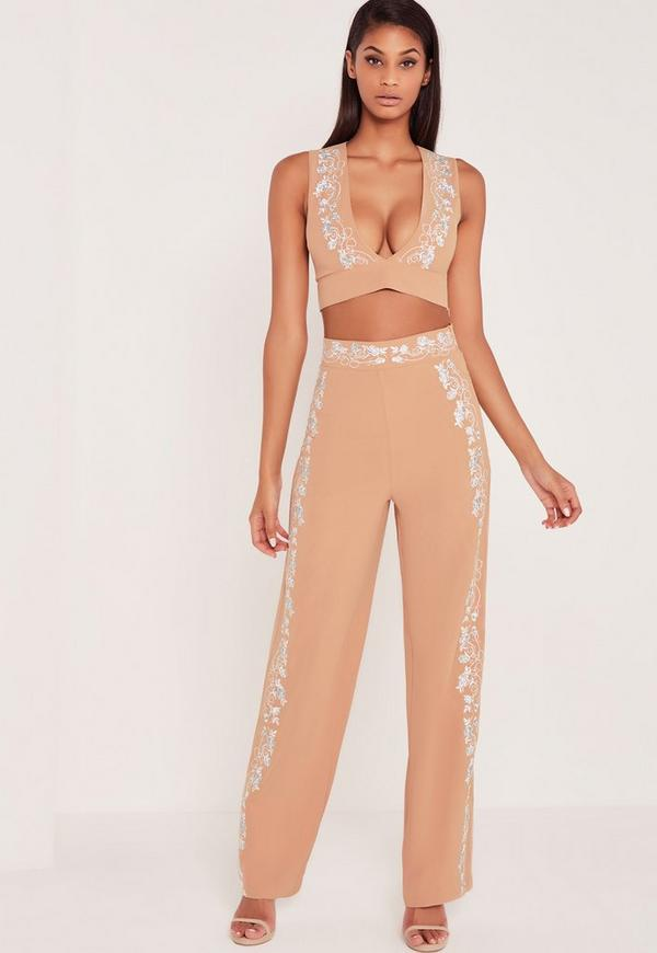 Carli Bybel Embroidered Side Wide Leg Trousers Nude