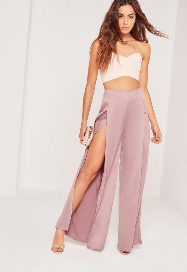 Satin Split Front Wide Leg Trousers Lilac