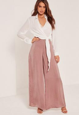 Super Wide Leg Palazzo Trousers Pink