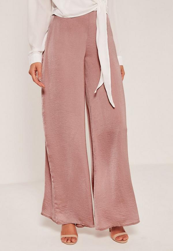Super Wide Leg Palazzo Pants Pink Missguided