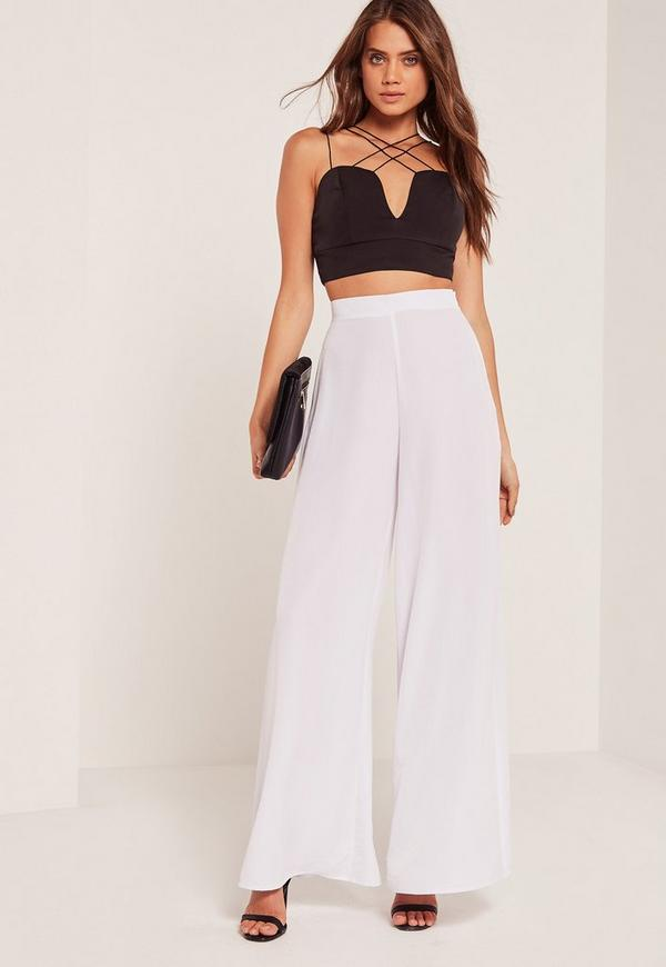 Super Wide Leg Palazzo Pants White Missguided