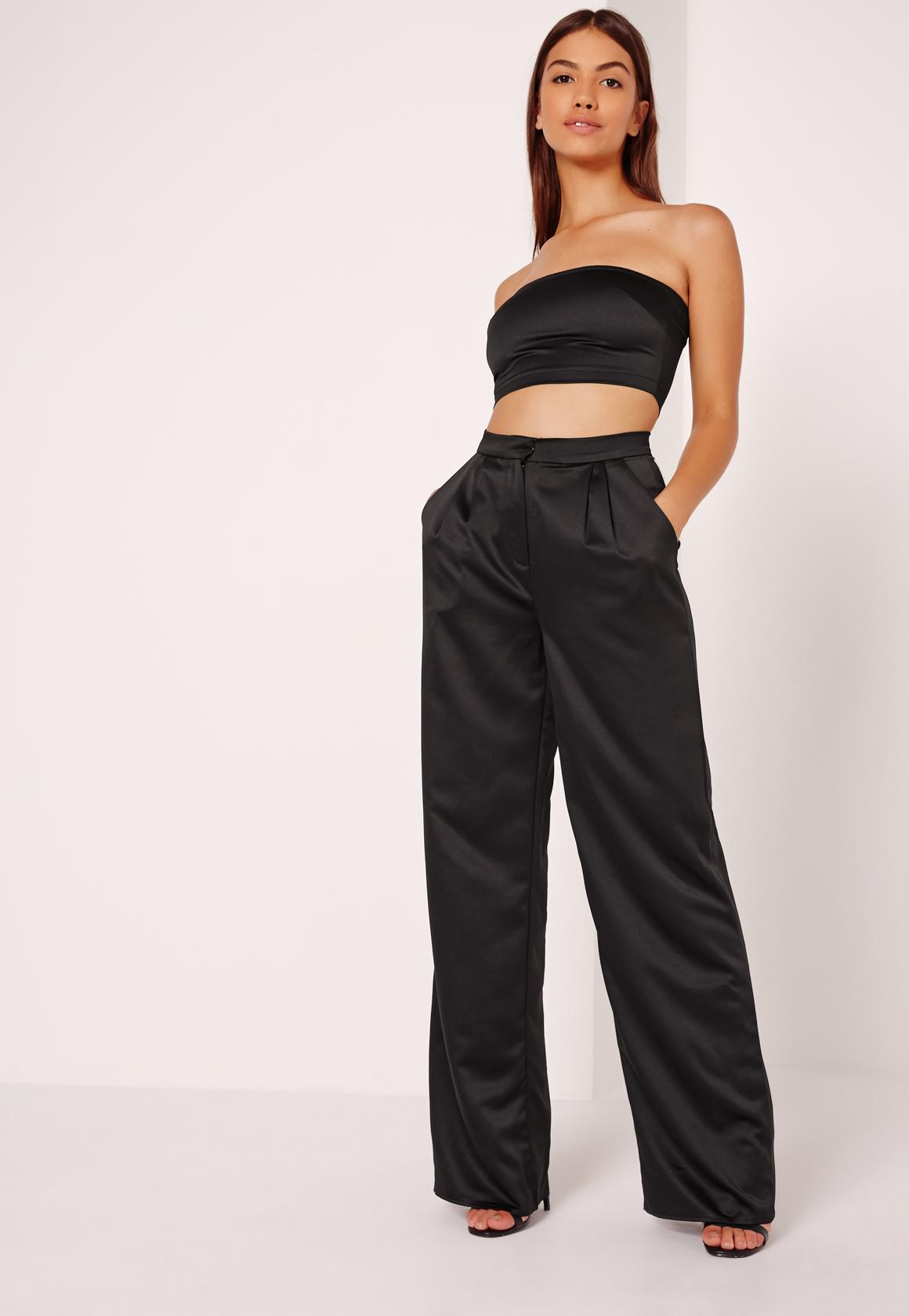 Black Satin Wide Leg Pants - Missguided