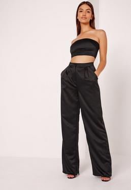 Satin Wide Leg Trousers Black