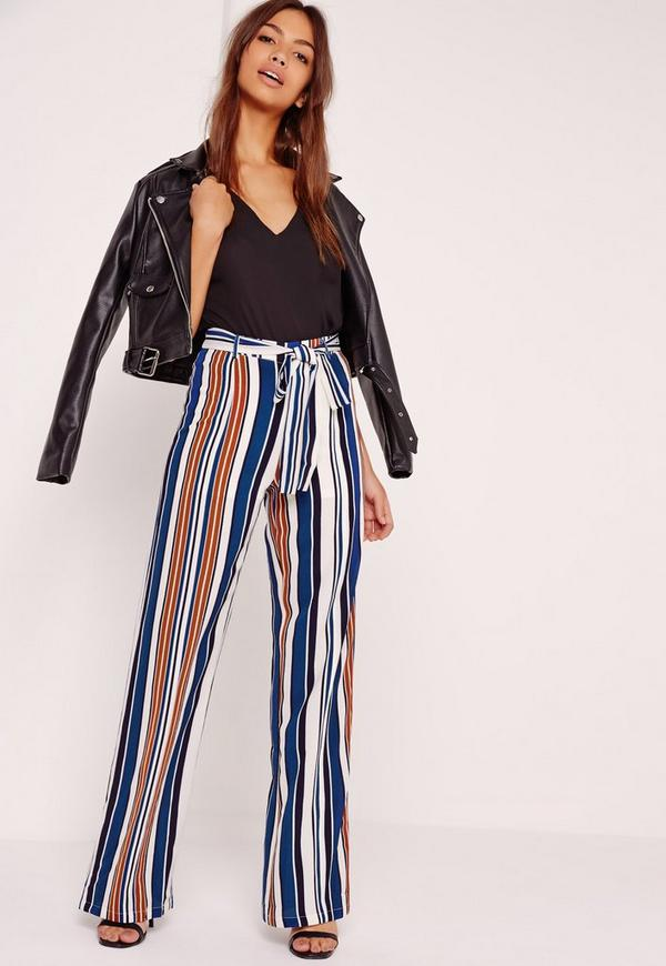 Striped Wide Leg Trousers Multi - Missguided
