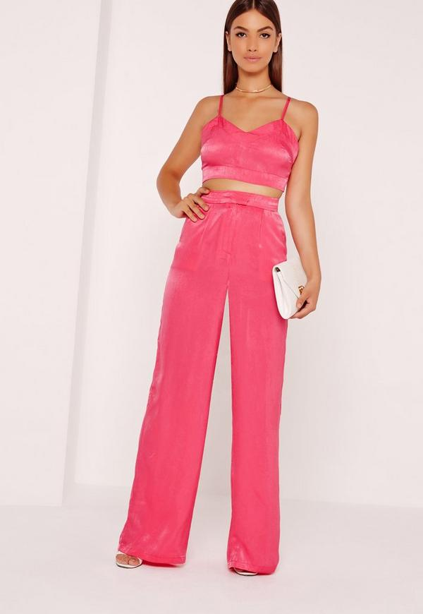 Satin Wide Leg Trousers Pink