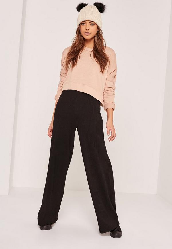 Ripple Wide Leg Trousers Black