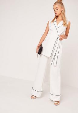 Pyjama Style Wide Leg Trousers White