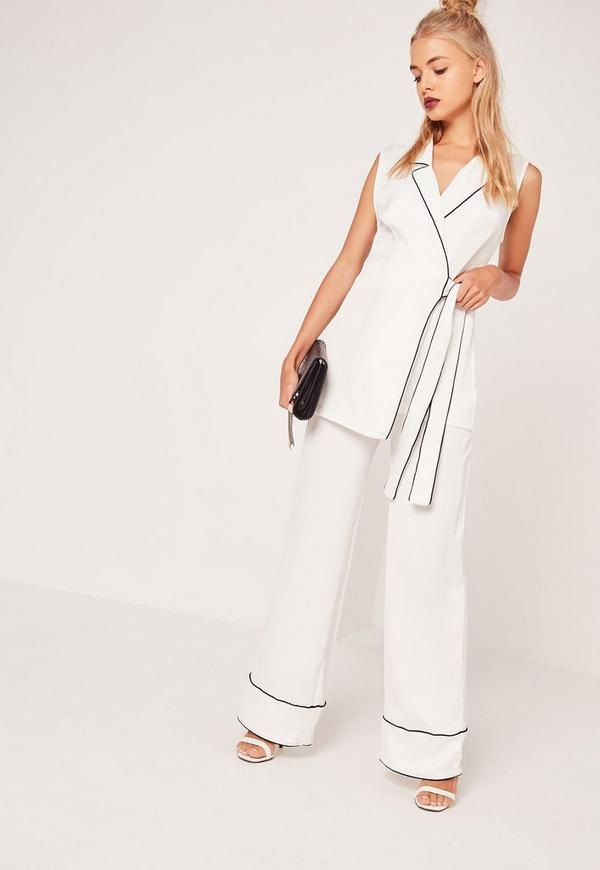 Pyjama Style Wide Leg Trousers White