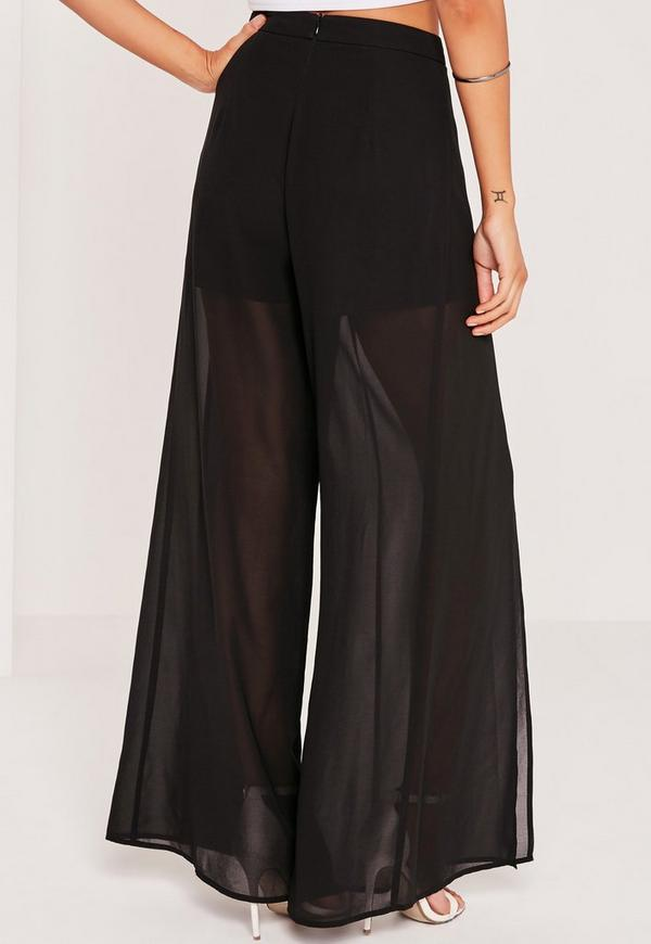 Chiffon Split Front Palazzo Pants Black Missguided
