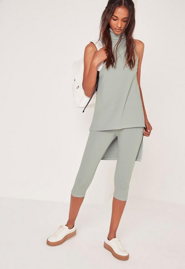 Ribbed Cropped Leggings Green