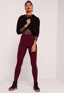 Ribbed Full Length Leggings Burgundy