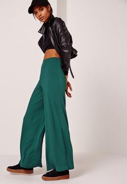 Ribbed Wide Leg Trousers Green