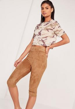 Cropped Faux Suede Leggings Tan