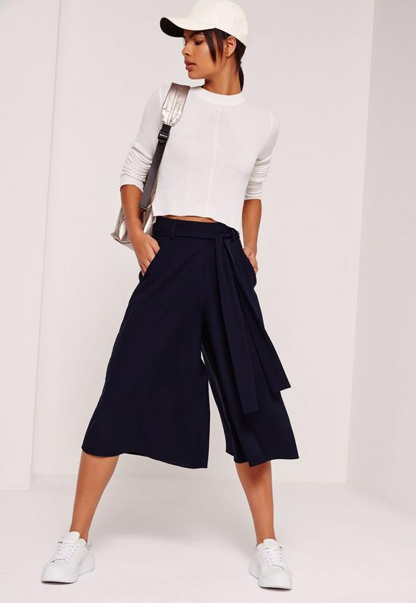 Textured Wide Leg Belted Culottes Navy