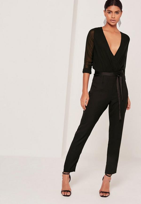 Satin Tie Waist Cigarette Trousers Black