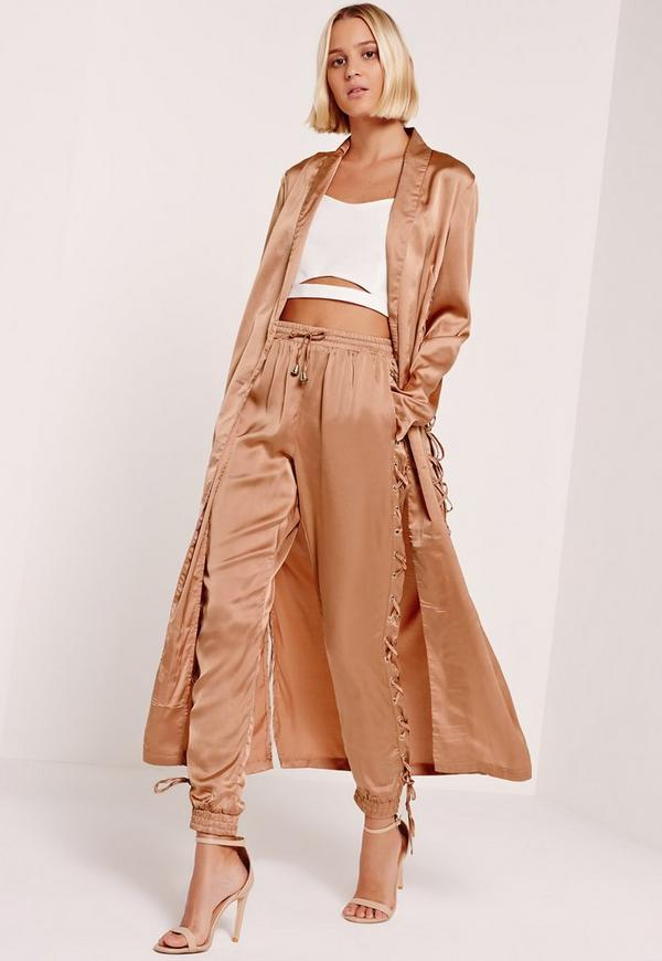Satin Lace Up Side Joggers Nude