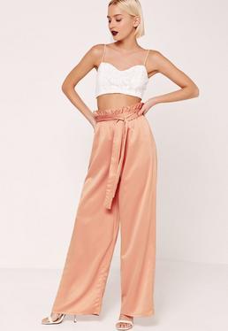 Pantalon large orange taille plissée