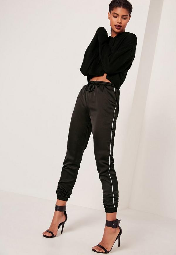 Piped Side Satin Joggers Black