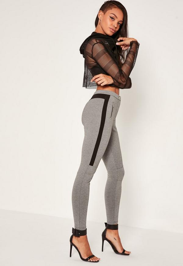 Grey Biker Zip Treggings