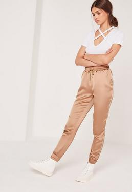 Satin Cuffed Joggers Rose Gold