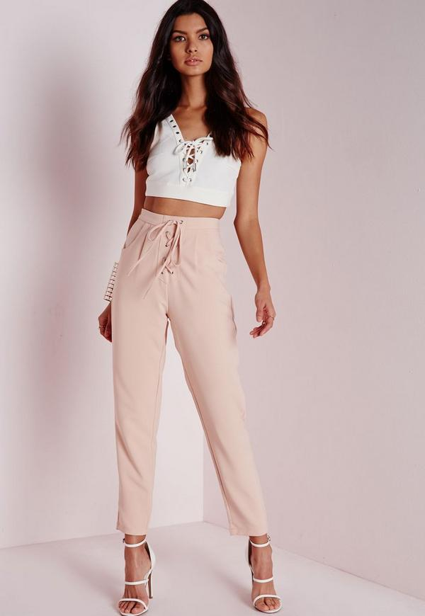 Lace Up High Waisted Cigarette Trousers Nude