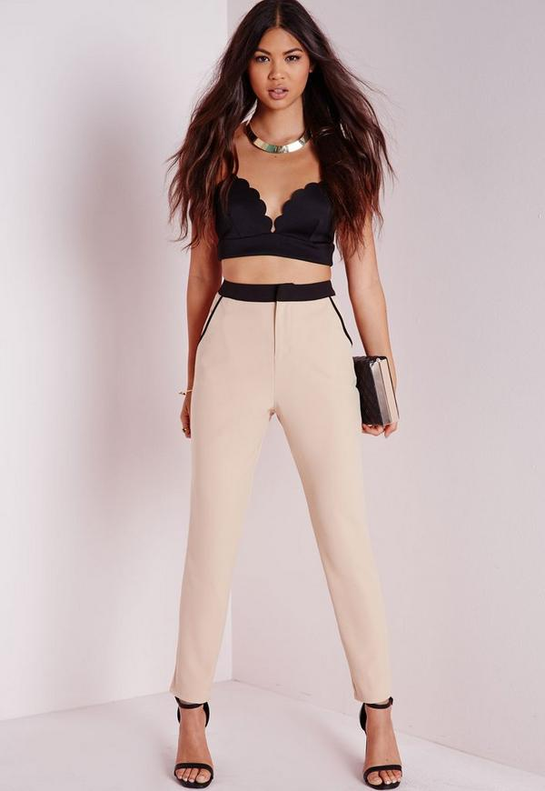 Contrast Waistband Cigarette Trousers Camel