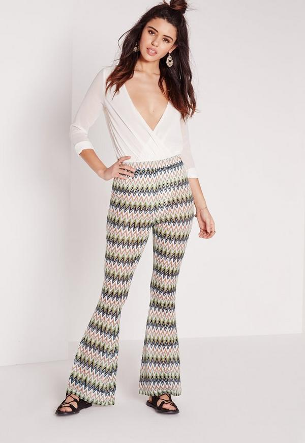Wave Effect Skinny Flares Green