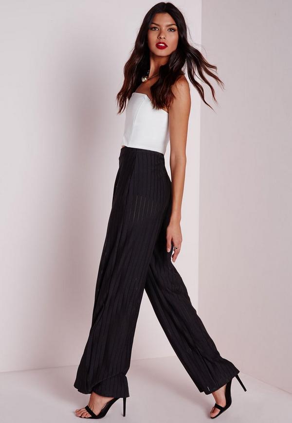 Burnout Stripe Wide Leg Trousers Black