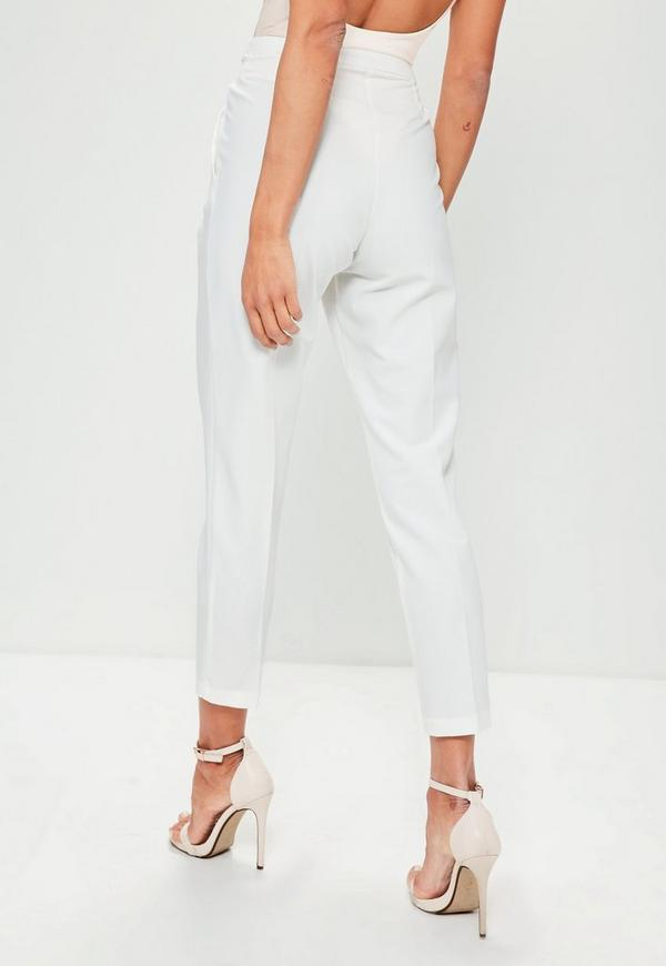 Tie Belt Crepe High Waist Trousers White Missguided