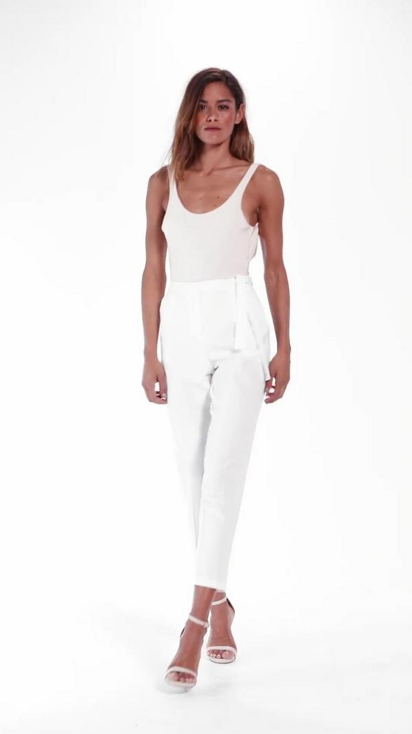 Tie Belt Crepe High Waist Trousers White Trousers