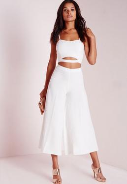 Jupe-culotte extra-large en crêpe blanc ivoire
