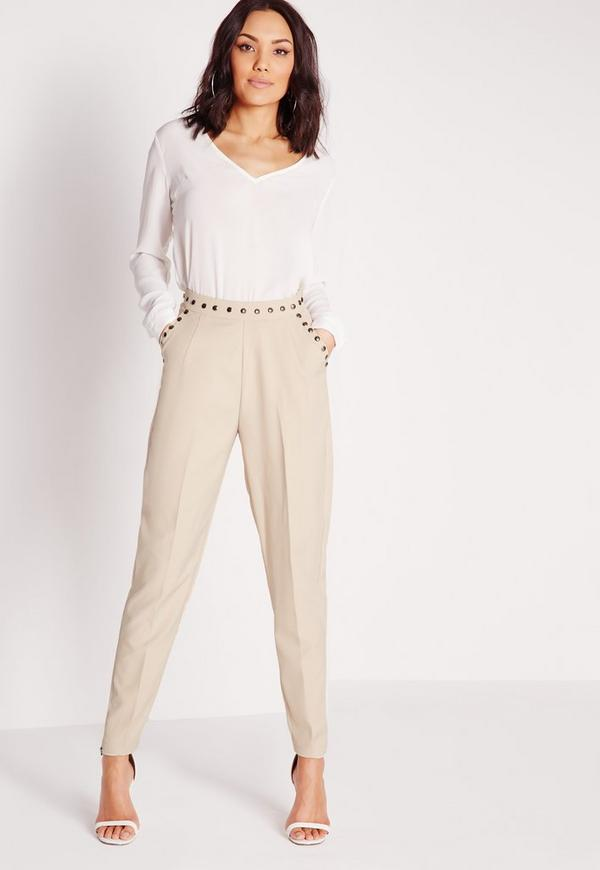 Stud Detail Cigarette Trousers Grey