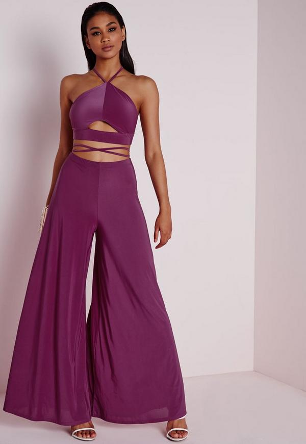 Slinky Wide Leg Trousers Purple