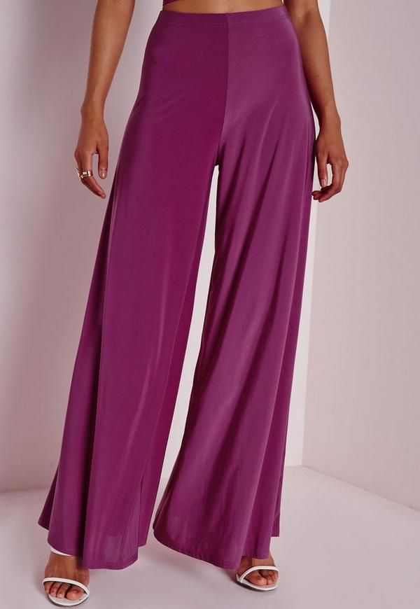 Slinky Wide Leg Pants Purple - Slinky -Trousers - Missguided