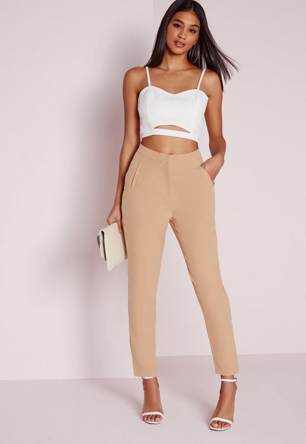Premium High Waisted Cigarette Suit Trousers Camel