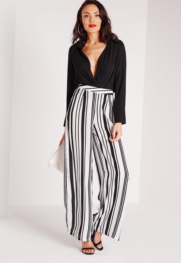 Stripe Wide Leg Trousers White