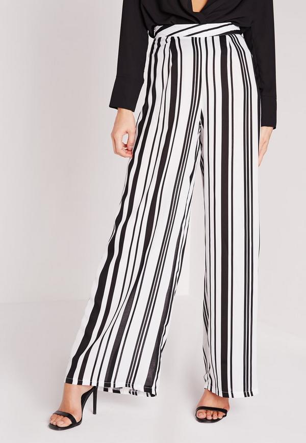 pantalon large ray noir et blanc missguided. Black Bedroom Furniture Sets. Home Design Ideas