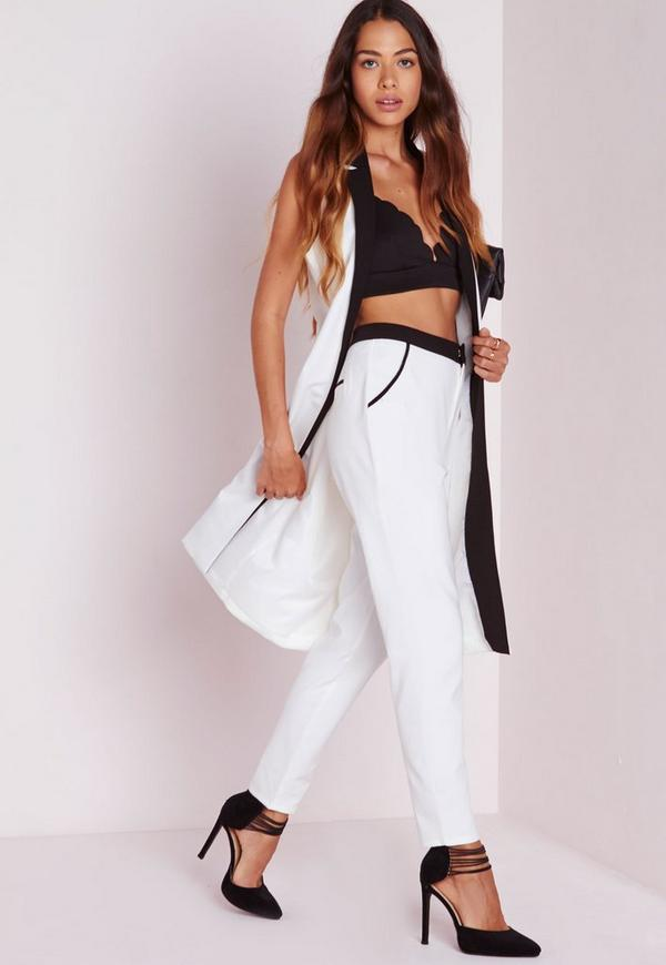 Contrast Cigarette Trousers White