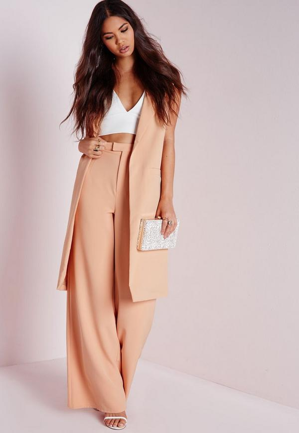 High Waisted Crepe Wide Leg Trousers Nude