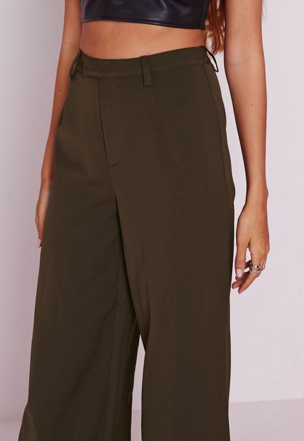 pantalon large taille haute vert kaki missguided. Black Bedroom Furniture Sets. Home Design Ideas