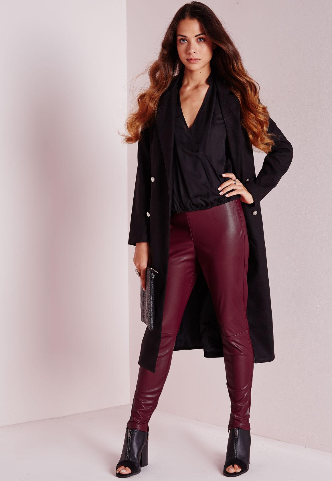 Faux leather leggings burgundy