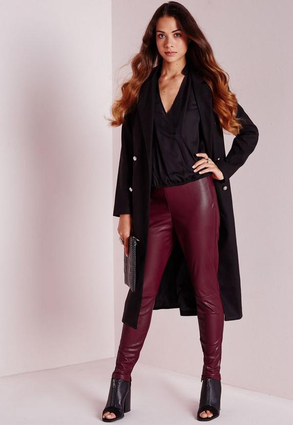 Faux Leather Ankle Zip Trousers Burgundy